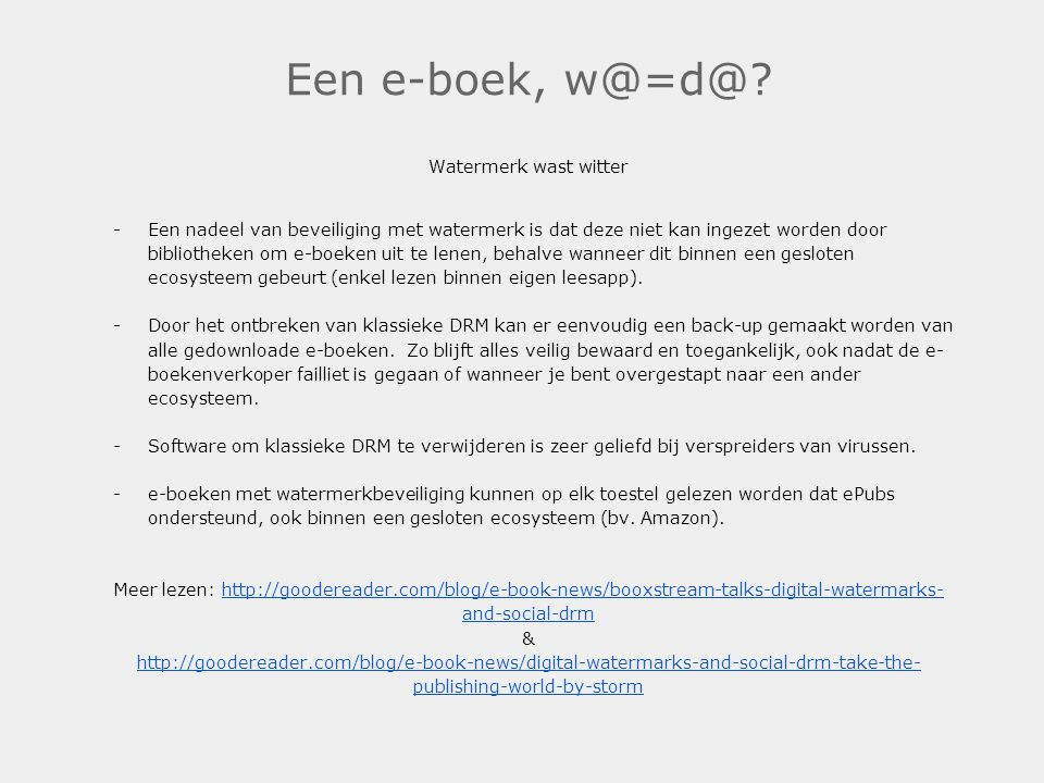 Een e-boek, w@=d@ Watermerk wast witter