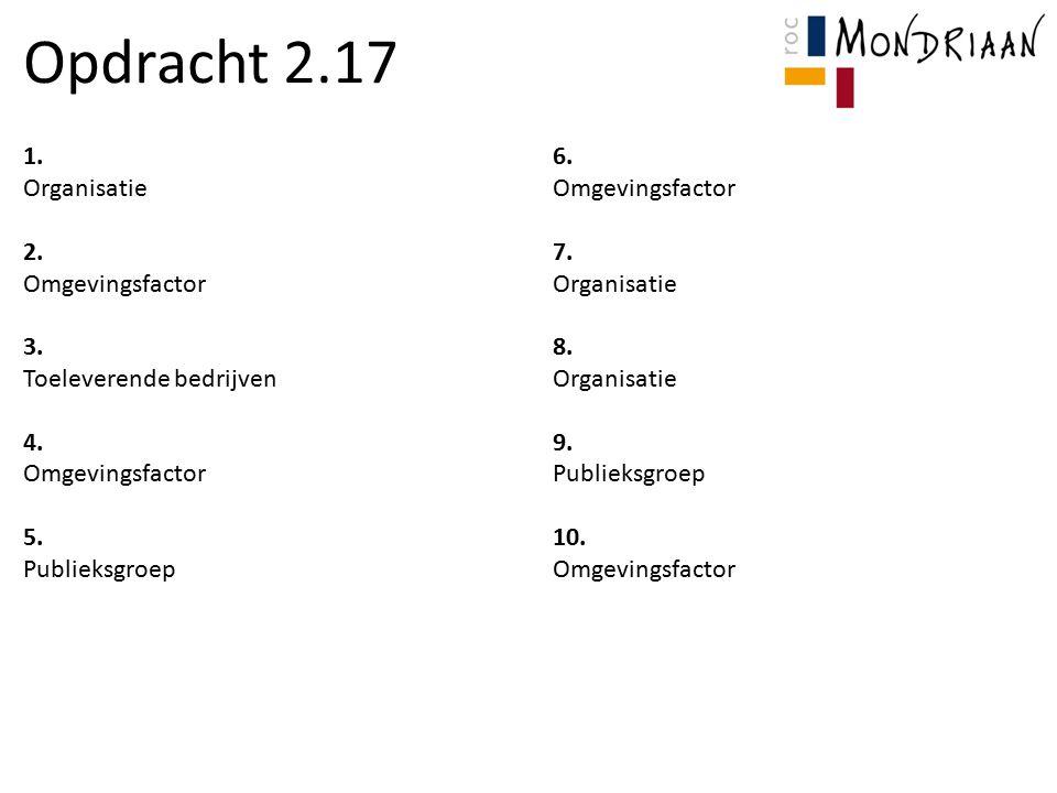 Opdracht 2.17 1. 6. Organisatie Omgevingsfactor 2. 7.