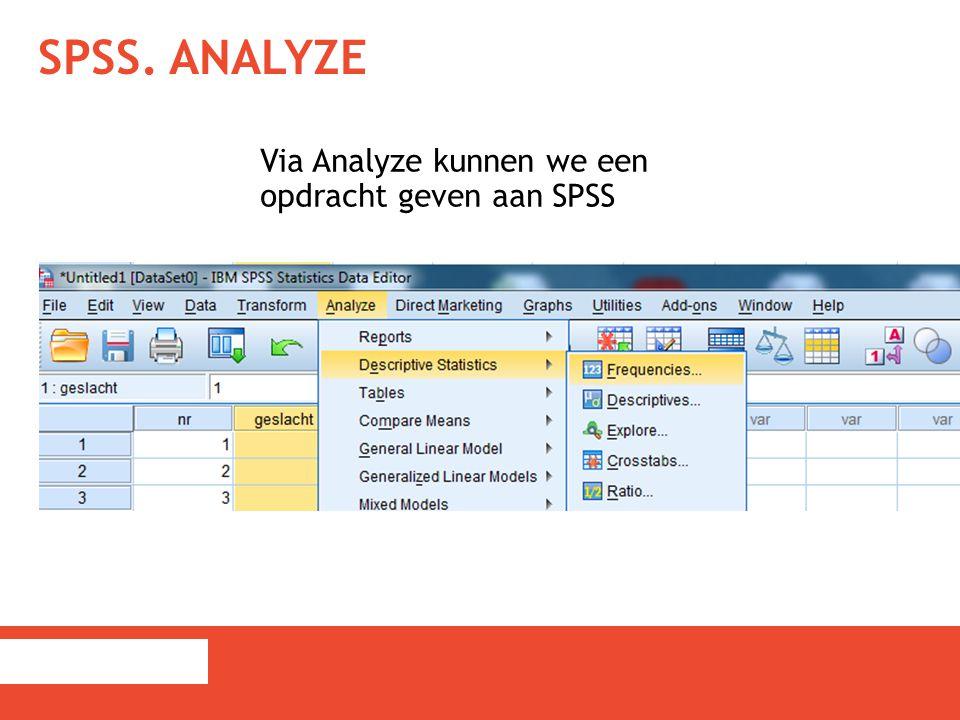 SPSS. Analyze Via Analyze kunnen we een opdracht geven aan SPSS