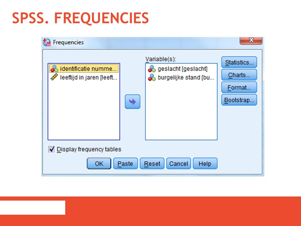 SPSS. Frequencies