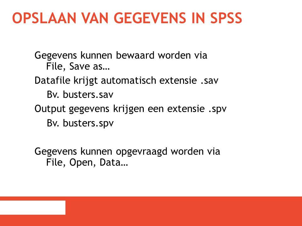 Opslaan van gegevens in SPSS