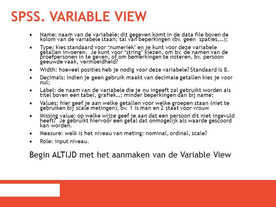 SPSS. Variable View Begin ALTIJD met het aanmaken van de Variable View
