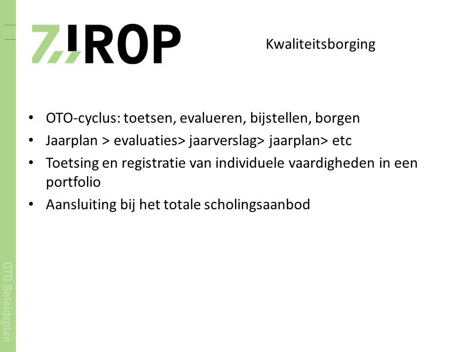 Kwaliteitsborging OTO-cyclus: toetsen, evalueren, bijstellen, borgen. Jaarplan > evaluaties> jaarverslag> jaarplan> etc.