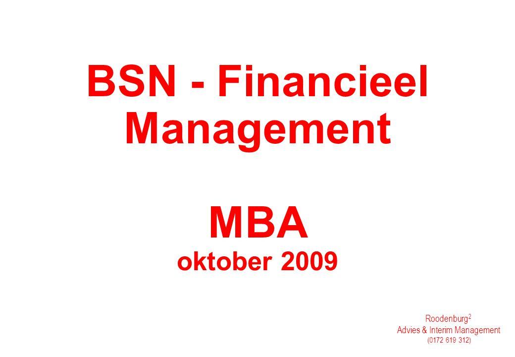 BSN - Financieel Management MBA oktober 2009