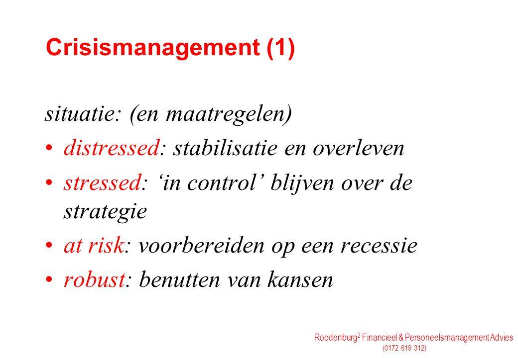 Crisismanagement (1) situatie: (en maatregelen) distressed: stabilisatie en overleven. stressed: 'in control' blijven over de strategie.