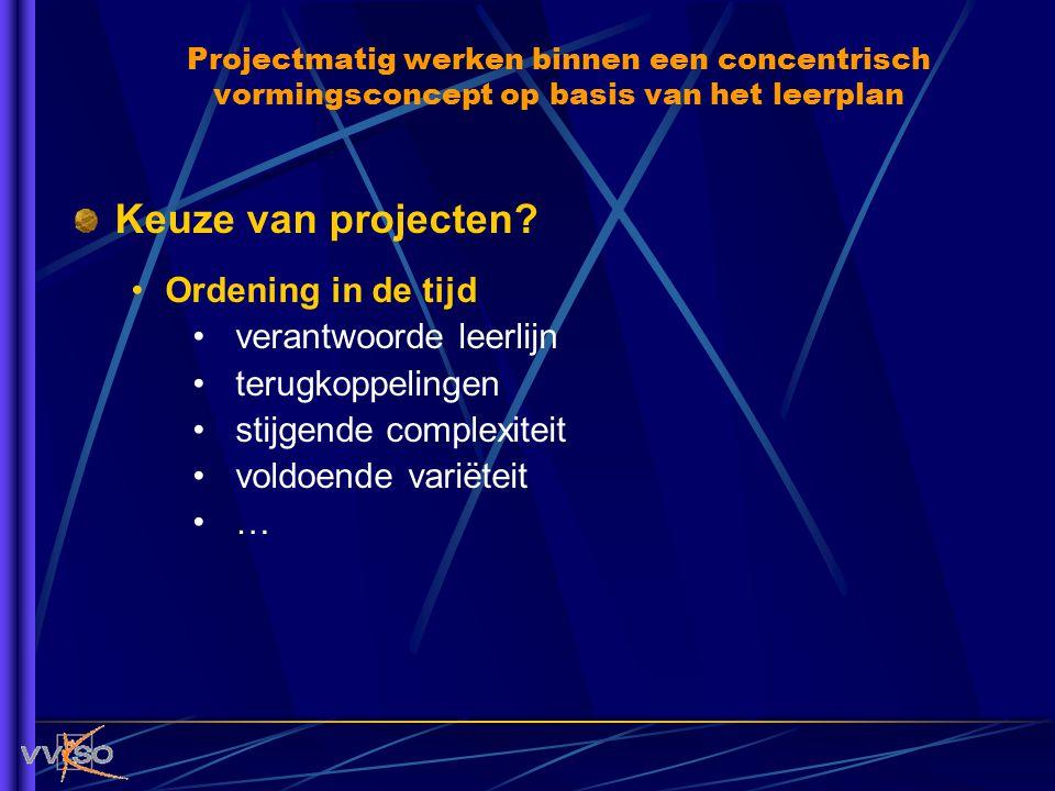 Keuze van projecten Ordening in de tijd verantwoorde leerlijn