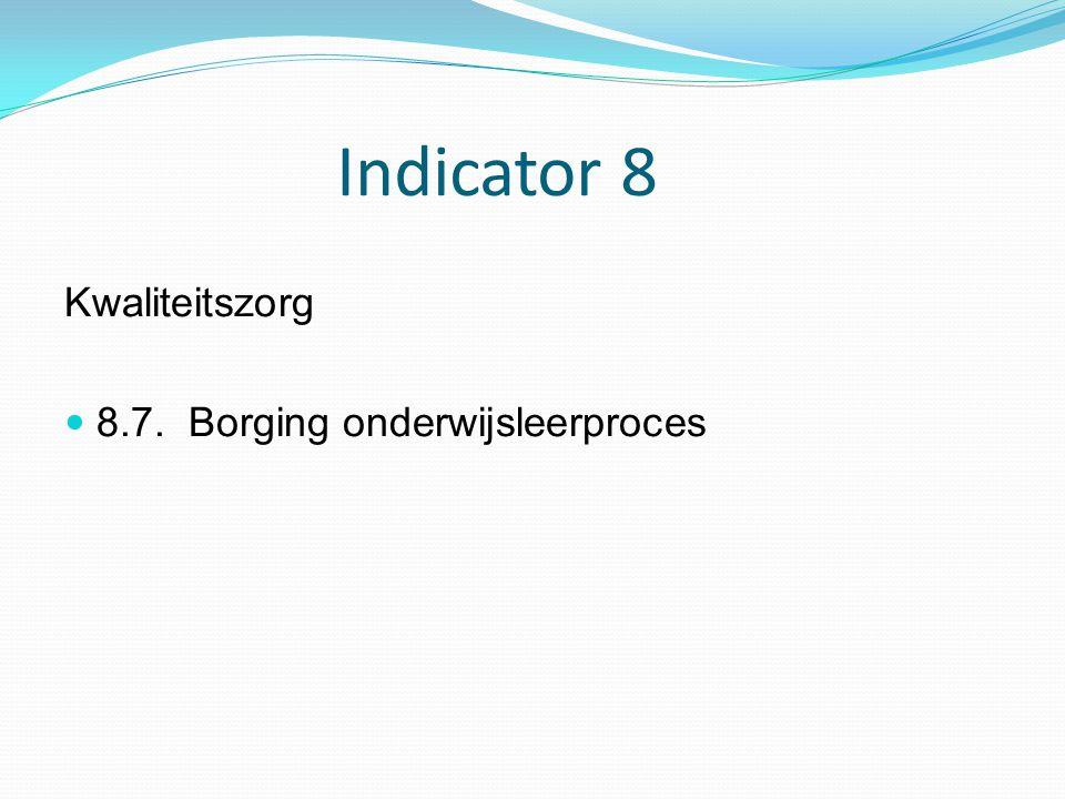 Indicator 8 Kwaliteitszorg 8.7. Borging onderwijsleerproces