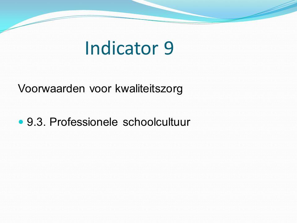 Indicator 9 Voorwaarden voor kwaliteitszorg