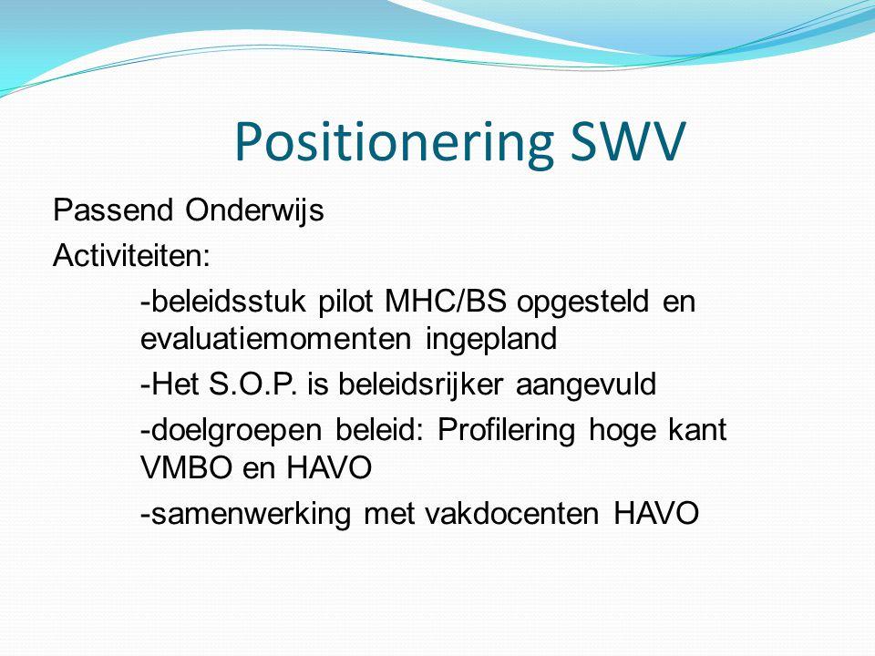 Positionering SWV Passend Onderwijs Activiteiten: