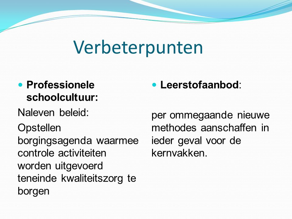 Verbeterpunten Professionele schoolcultuur: Naleven beleid: