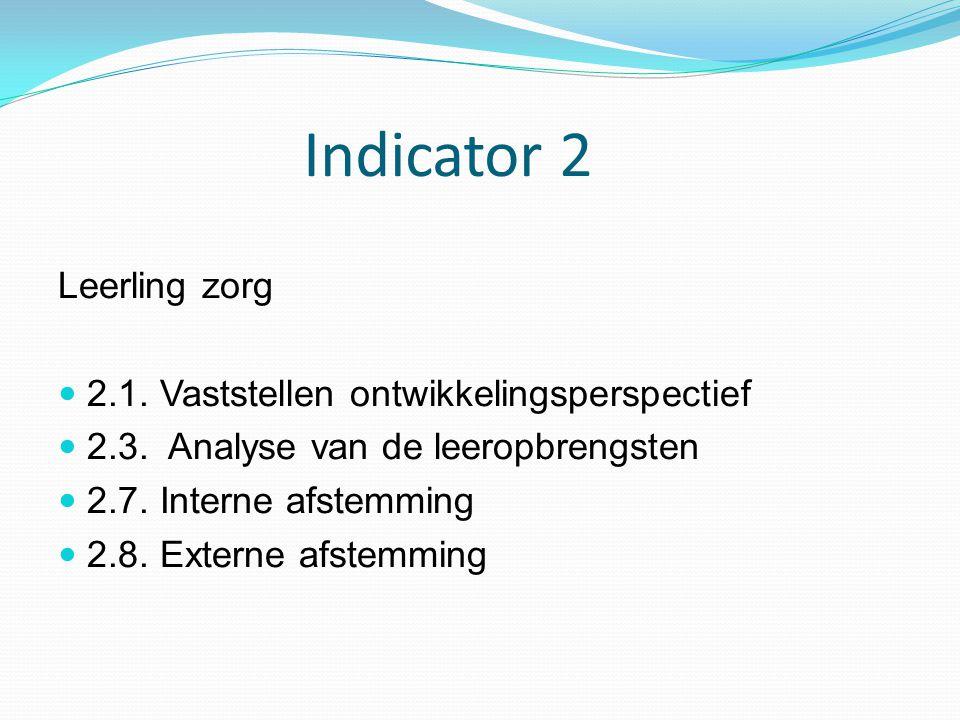 Indicator 2 Leerling zorg 2.1. Vaststellen ontwikkelingsperspectief