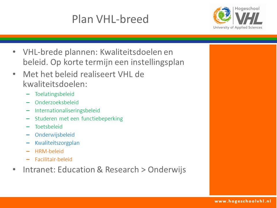 Plan VHL-breed VHL-brede plannen: Kwaliteitsdoelen en beleid. Op korte termijn een instellingsplan.