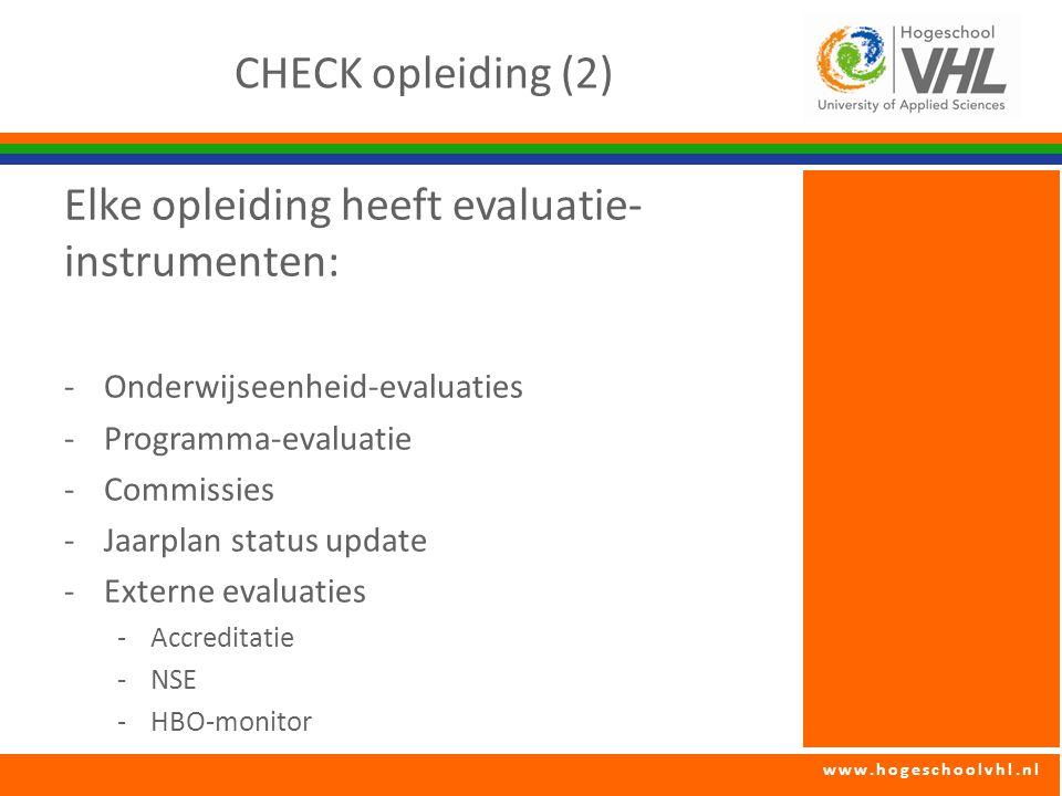 Elke opleiding heeft evaluatie-instrumenten: