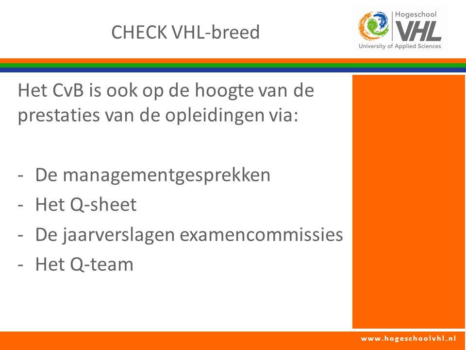 CHECK VHL-breed Het CvB is ook op de hoogte van de prestaties van de opleidingen via: De managementgesprekken.