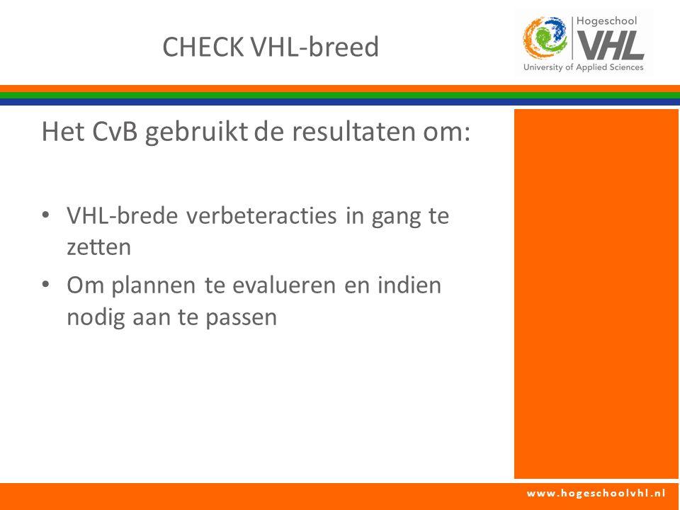 Het CvB gebruikt de resultaten om: