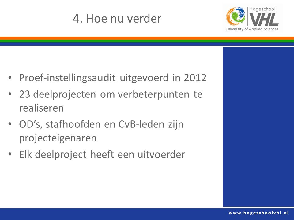 4. Hoe nu verder Proef-instellingsaudit uitgevoerd in 2012