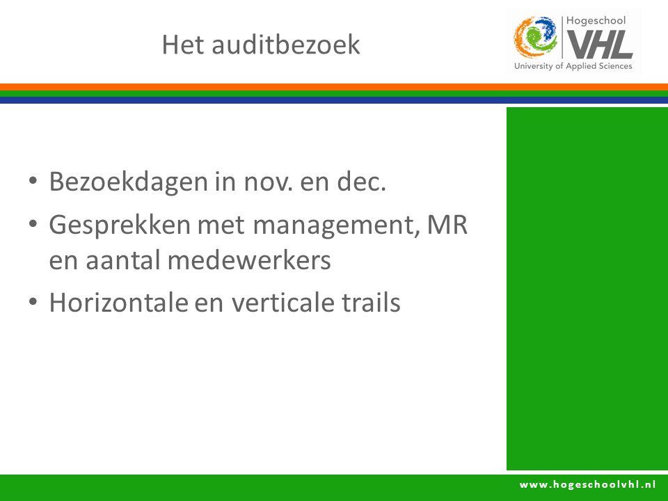 Het auditbezoek Bezoekdagen in nov. en dec. Gesprekken met management, MR en aantal medewerkers.