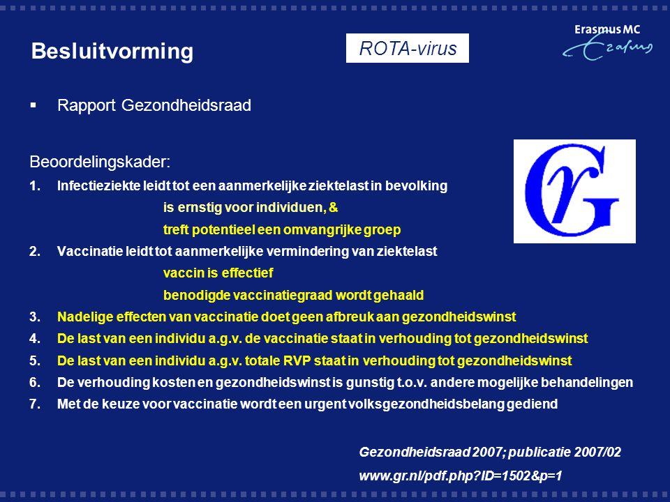 Besluitvorming ROTA-virus Rapport Gezondheidsraad Beoordelingskader: