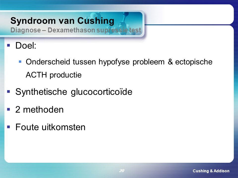 Syndroom van Cushing Diagnose – Dexamethason supressie test