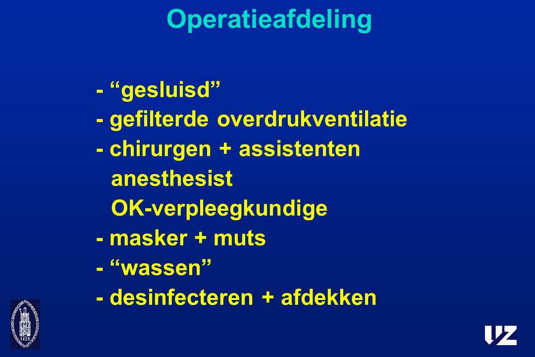 Operatieafdeling - gesluisd - gefilterde overdrukventilatie