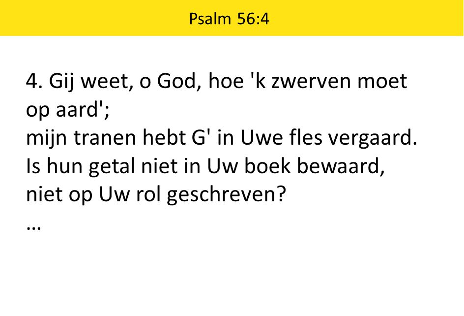 4. Gij weet, o God, hoe k zwerven moet op aard ;