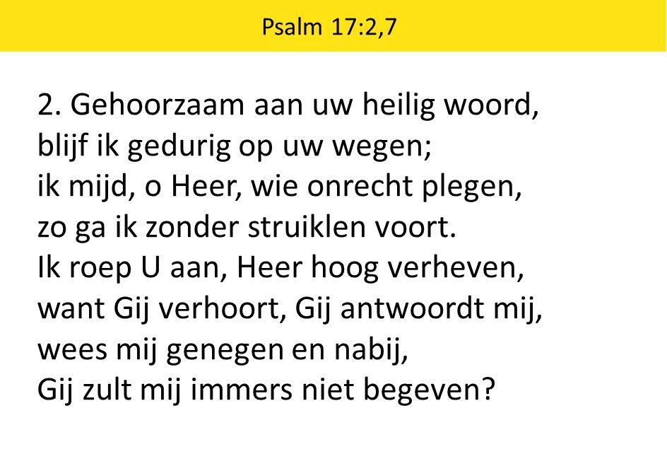 2. Gehoorzaam aan uw heilig woord, blijf ik gedurig op uw wegen;