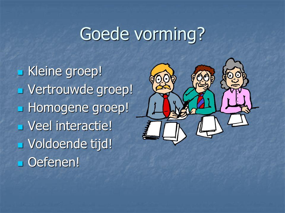 Goede vorming Kleine groep! Vertrouwde groep! Homogene groep!