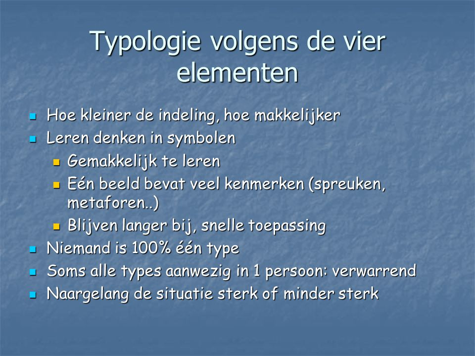 Typologie volgens de vier elementen