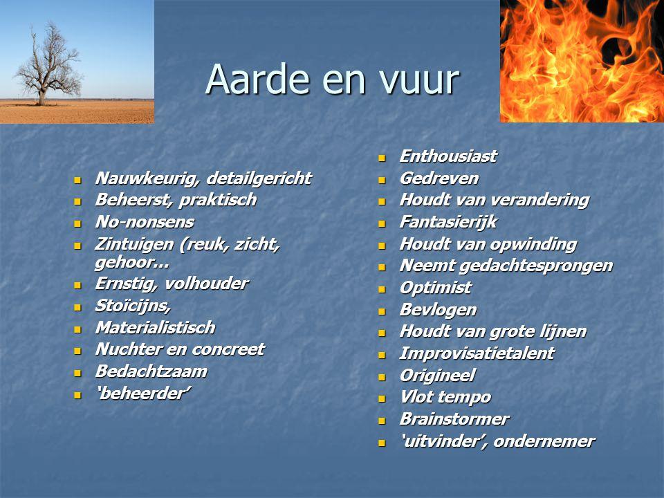 Aarde en vuur Nauwkeurig, detailgericht Beheerst, praktisch No-nonsens