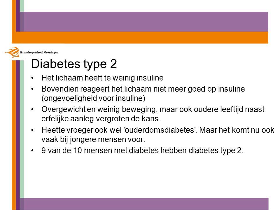 Diabetes type 2 Het lichaam heeft te weinig insuline
