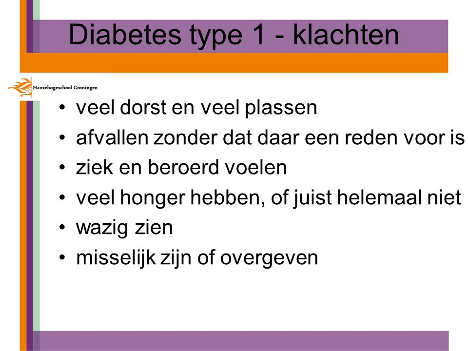 Diabetes type 1 - klachten