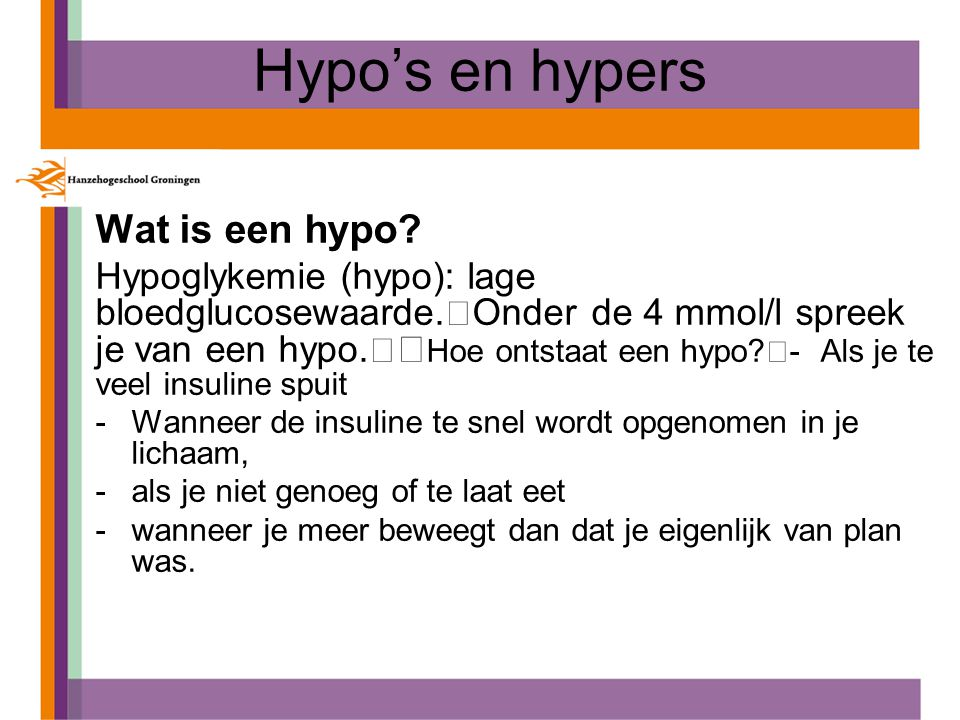 Hypo's en hypers Wat is een hypo