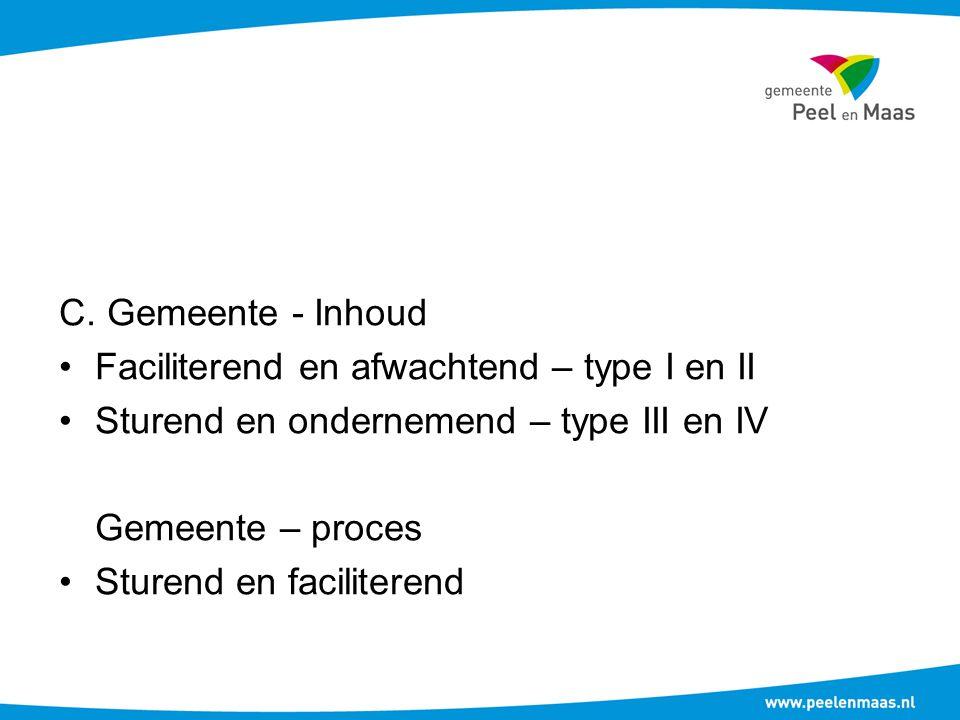 C. Gemeente - Inhoud Faciliterend en afwachtend – type I en II. Sturend en ondernemend – type III en IV.