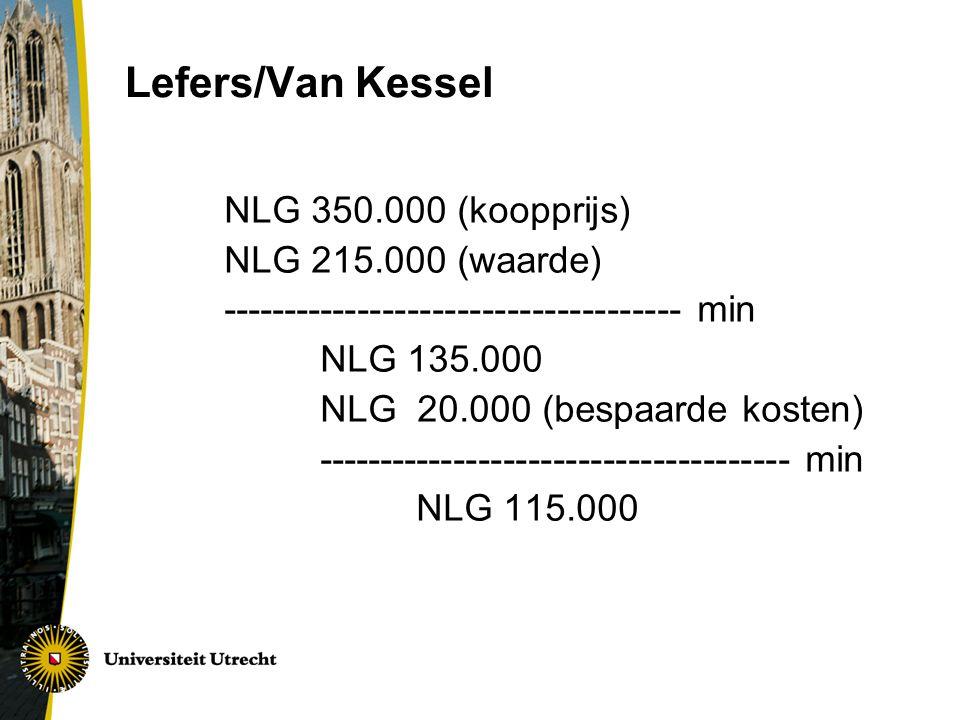Lefers/Van Kessel NLG 350.000 (koopprijs) NLG 215.000 (waarde)
