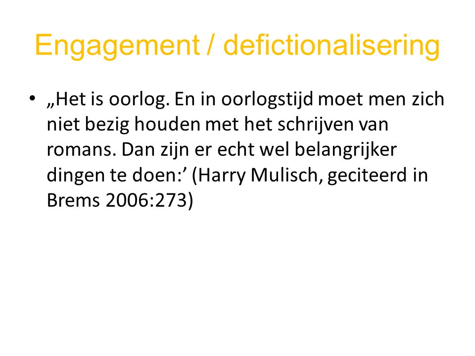 Engagement / defictionalisering