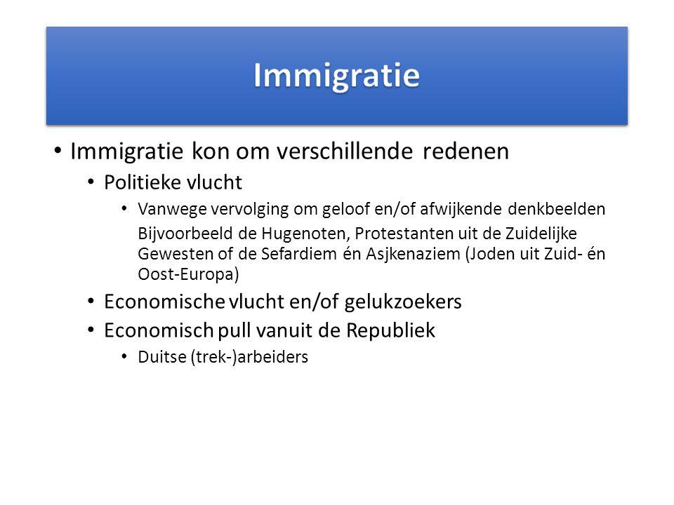 Immigratie Immigratie kon om verschillende redenen Politieke vlucht