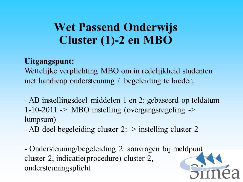 Wet Passend Onderwijs Cluster (1)-2 en MBO