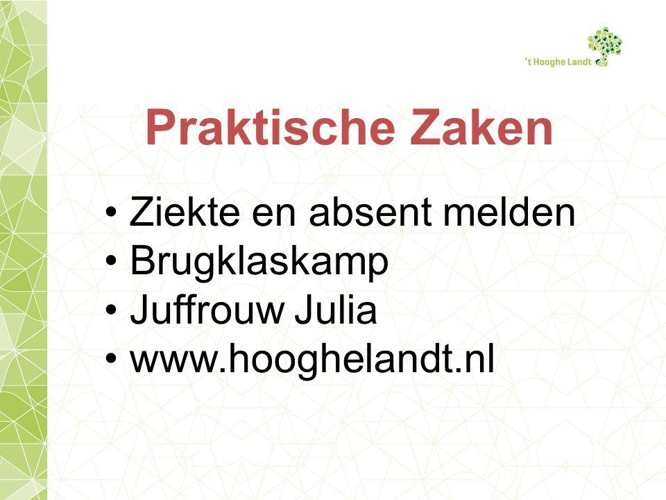 Praktische Zaken Ziekte en absent melden Brugklaskamp Juffrouw Julia
