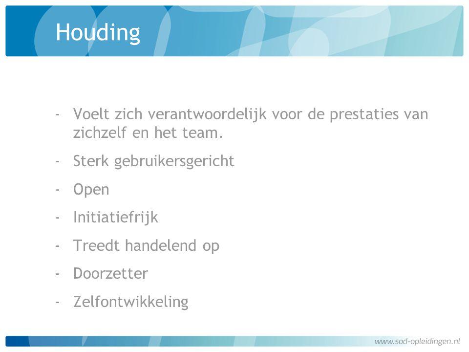 Houding Voelt zich verantwoordelijk voor de prestaties van zichzelf en het team. Sterk gebruikersgericht.
