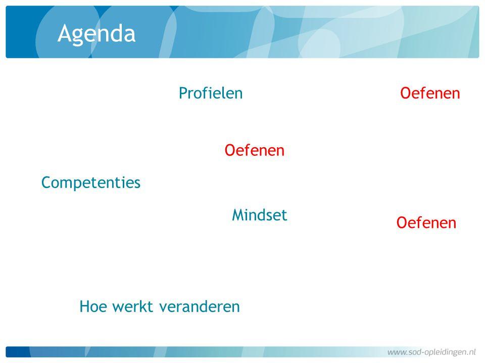 Agenda Profielen Oefenen Oefenen Competenties Mindset Oefenen