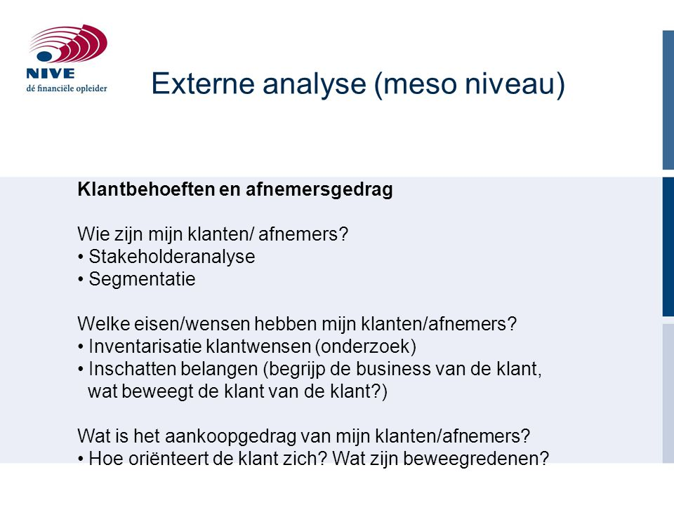 Externe analyse (meso niveau)