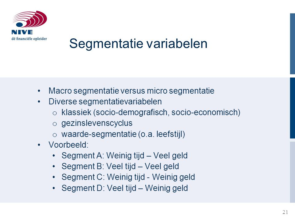 Segmentatie variabelen