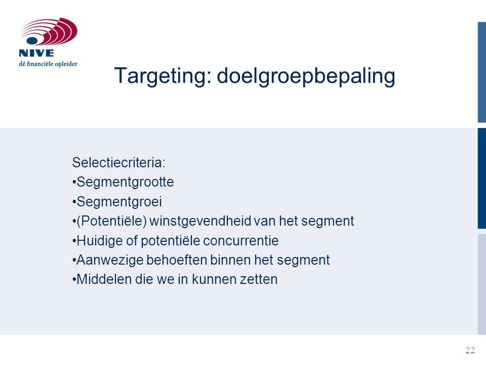 Targeting: doelgroepbepaling