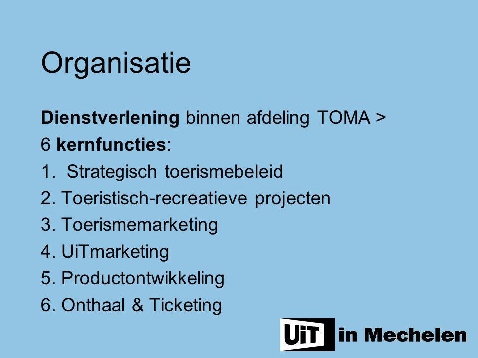 Organisatie Dienstverlening binnen afdeling TOMA > 6 kernfuncties: