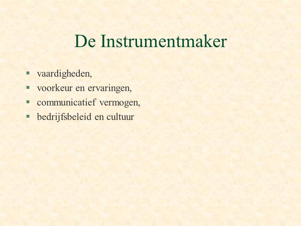 De Instrumentmaker vaardigheden, voorkeur en ervaringen,