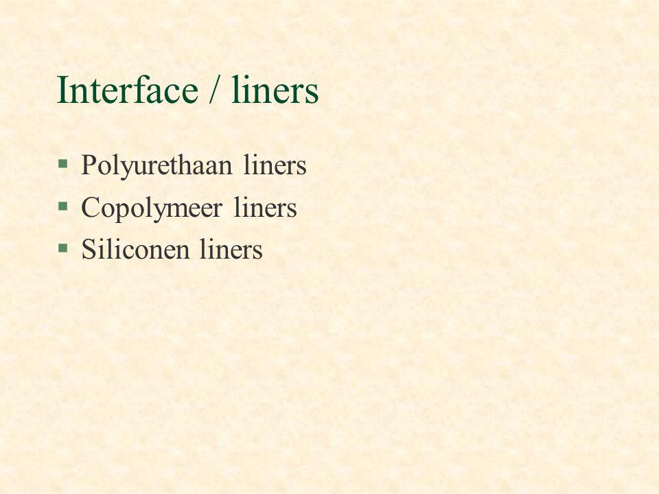 Interface / liners Polyurethaan liners Copolymeer liners