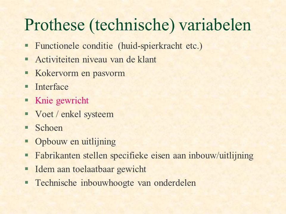 Prothese (technische) variabelen