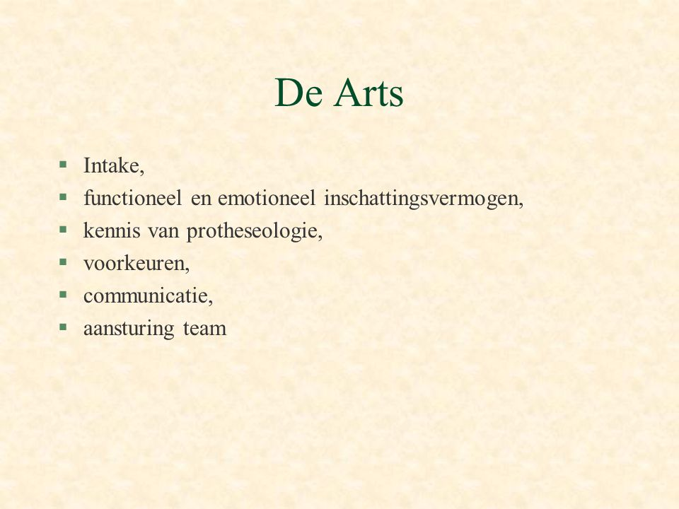 De Arts Intake, functioneel en emotioneel inschattingsvermogen,