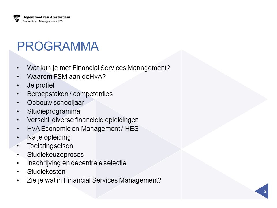 Programma Wat kun je met Financial Services Management