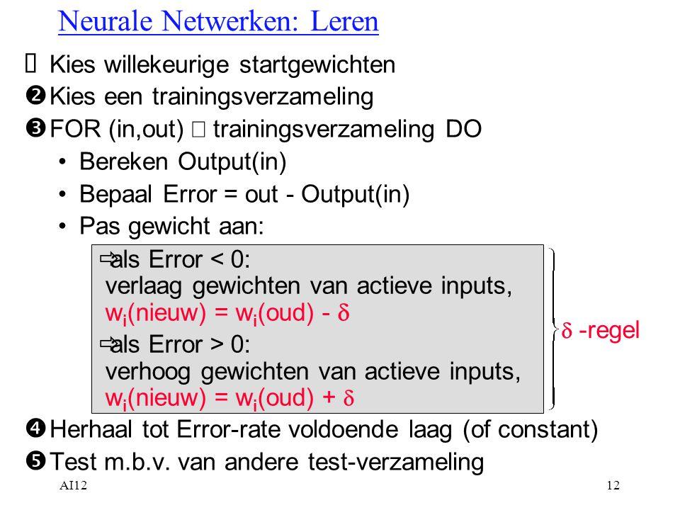 Neurale Netwerken: Leren